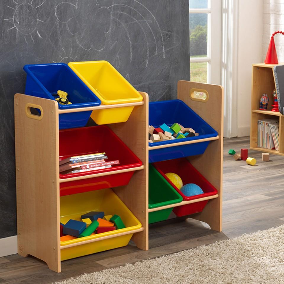 Kidkraft Primary 7 Bin Storage Unit   Natural