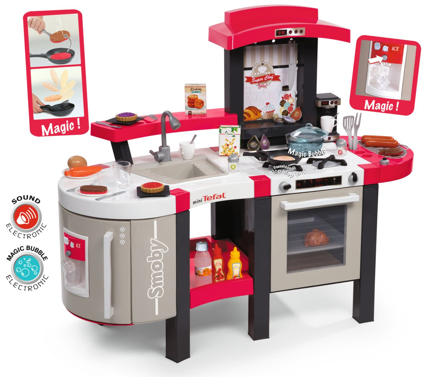 smoby tefal super chef kitchen childrens kitchens role play toys toy kitc ebay. Black Bedroom Furniture Sets. Home Design Ideas